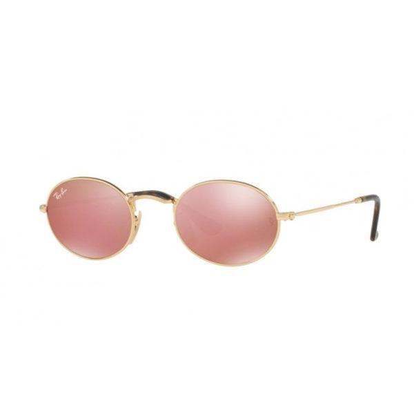 Occhiali RayBan RB3547N001/Z2 con montatura colore oro, lente rame specchiata e forma ovale. Ponte: 21mm Asta: 140mm
