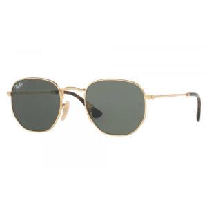 Occhiali Rayban RB3548N 001 con montatura colore oro, lente verde e forma ottagonale. Ponte: 21mm Asta: 140mm