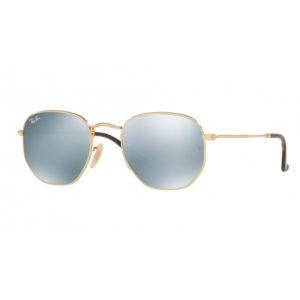 Occhiali Rayban RB3548N 001/30 con montatura colore oro, lente grigia specchiata e forma ottagonale. Ponte: 21mm Asta: 140mm